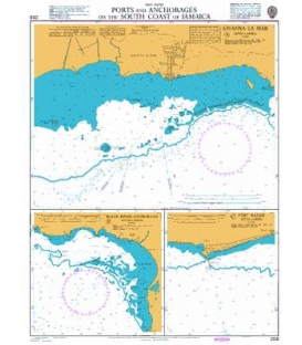 British Admiralty Nautical Chart 258 Ports and Anchorages on the South Coast of Jamaica