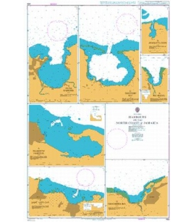 British Admiralty Nautical Chart 459 Harbours on the North Coast of Jamaica