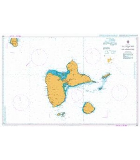 British Admiralty Nautical Chart 593 Approaches to Guadeloupe