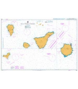 British Admiralty Nautical Chart 1869 Gran Canaria to Hierro