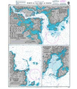 British Admiralty Nautical Chart 2487 Ports in the Gulf of Maine