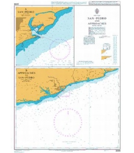 British Admiralty Nautical Chart 3099 San-Pedro and Approaches