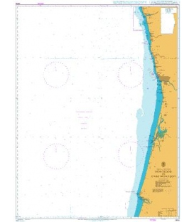 British Admiralty Nautical Chart 3634 Montedor to Cabo Mondego