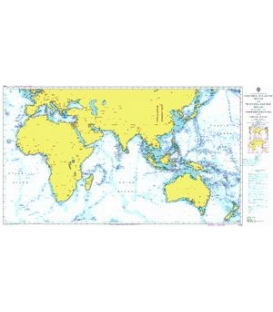 British Admiralty Nautical Chart 4016 A Planning Chart for the Eastern Atlantic Ocean to the Western Pacific Ocean