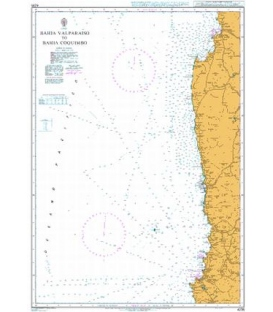 British Admiralty Nautical Chart 4235 Bahia Valparaiso to Bahia Coquimbo