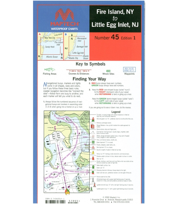 Fire Island Ny: Fire Island, NY To Little Egg Inlet, NJ Waterproof Chart