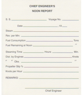 Chief Engineers Noon Report