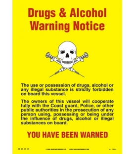 1040 Poster, Cabin size drugs and alcohol warning notice 150x105mm