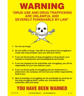 1041 Poster, Drugs use and trafficking warning notice