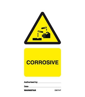 2507 Tie tag, Corrosive - Pack of 10