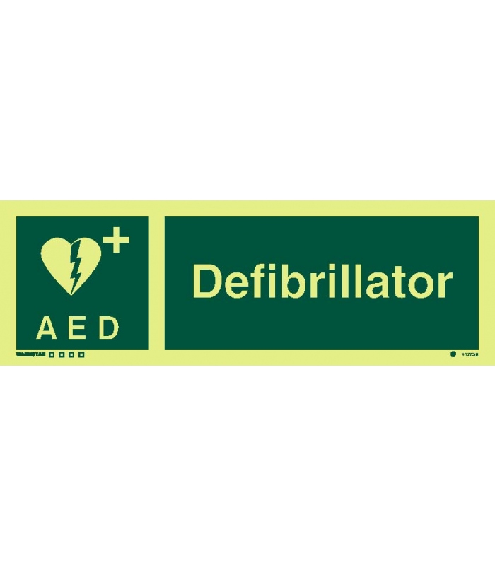 Safety Signs Photoluminescent Rigid Pvc Defibrillator Symbol With
