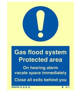 5881 Gas flood system protected area. On hearing alarm.. + !