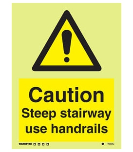 7624 Caution Steep stairway use handrails