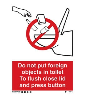 8003 No foreign objects in toilet vacuum system & symbol