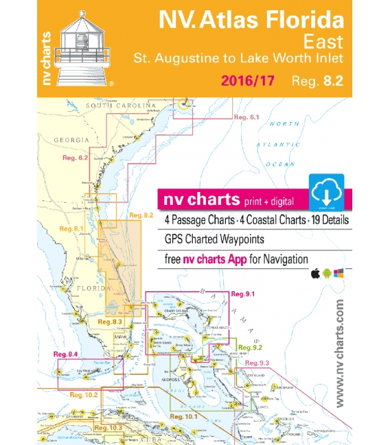 NV-Charts Chartkit Region 8.2: Florida, East, St. Augustine to Lake Worth Inlet 2016