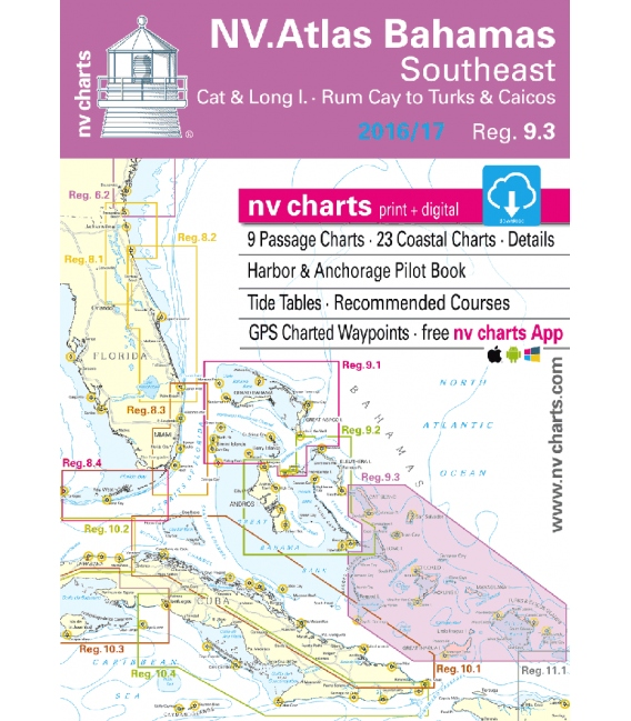 NV-Charts Chartkit Region 9.3, Bahamas South East, Cat & Long Islands, Rum Cay to Turks and Caicos 2016/17
