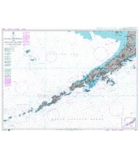 British Admiralty Nautical Chart 4977 Alaska Peninsula and Aleutian Islands to Seguam Pass