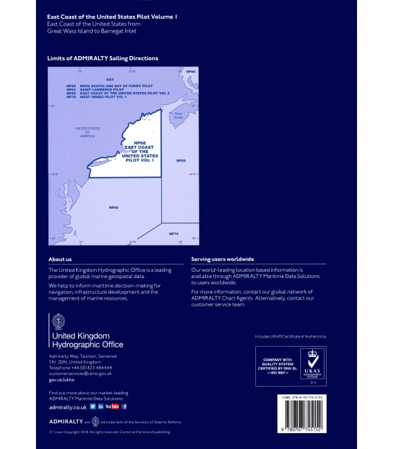 Admiralty Sailing Directions NP68 East Coast Of United States Pilot, Vol 1, 16th Edition 2018