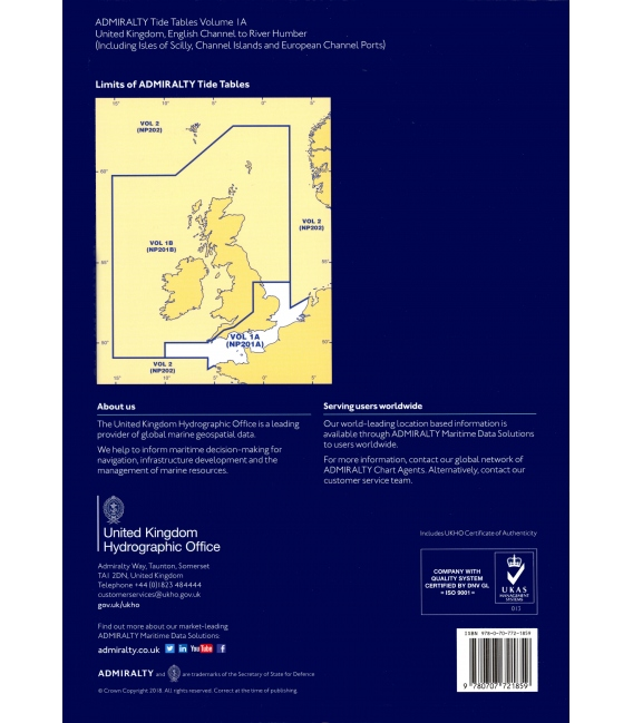 NP201A Admiralty Tide Tables (ATT) Volume 2, United Kingdom English Channel to River Humber, 2020 Edition