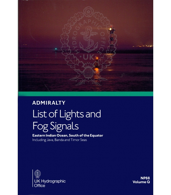 NP88 Admiralty List of Lights and Fog Signals Volume Q:  Eastern Indian Ocean South of the Equator, 1st Edition 2021