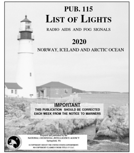 Pub. 115 - Norway, Iceland and the Arctic Ocean, 2020 Edition