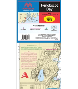 Maptech Waterproof Chart WPC074, Penobscot Bay, 3rd Edition, 2017