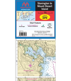 Maptech Waterproof Chart WPC075, Stonington to Mount Desert Island, 3rd Edition, 2021
