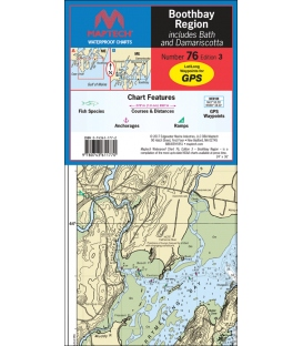 Maptech Waterproof Chart WPC076, Boothbay Region, 3rd Edition, 2017