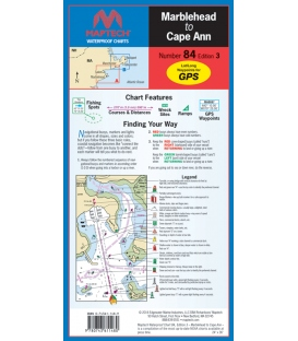 Maptech Waterproof Chart WPC084, Marblehead to Cape Ann, 3rd Edition, 2016
