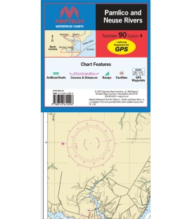 Maptech Waterproof Chart WPC090, Pamlico and Neuse Rivers, 4th Edition, 2020
