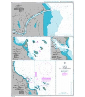 British Admiralty Nautical Chart 374 Ports in the Gulf of Mexico
