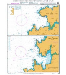 British Admiralty Nautical Chart 1113 Harbours on the North-West Coast of Spain