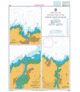 British Admiralty Nautical Chart 1133 Ports on the Western part of the North Coast of Spain