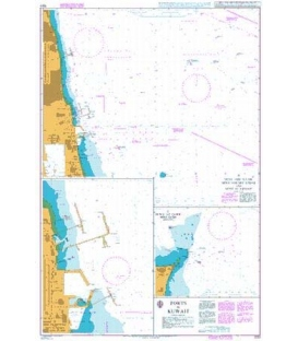 British Admiralty Nautical Chart 1223 Ports in Kuwait