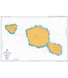 British Admiralty Nautical Chart 1382 Approaches to Tahiti and Moorea