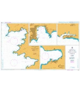 British Admiralty Nautical Chart 1424 Ports on the South and West Coasts of Corse