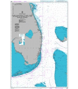 British Admiralty Nautical Chart 2866 Cape Canaveral to Key West including the Western Part of the Bahama Banks